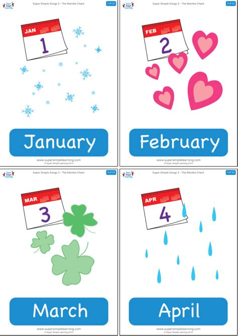 The Months Chant Flashcards - Super Simple