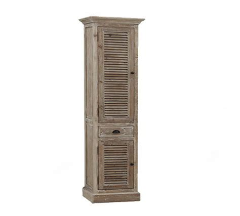 79 inch Distressed Linen Cabinet Rustic Finish, Floor