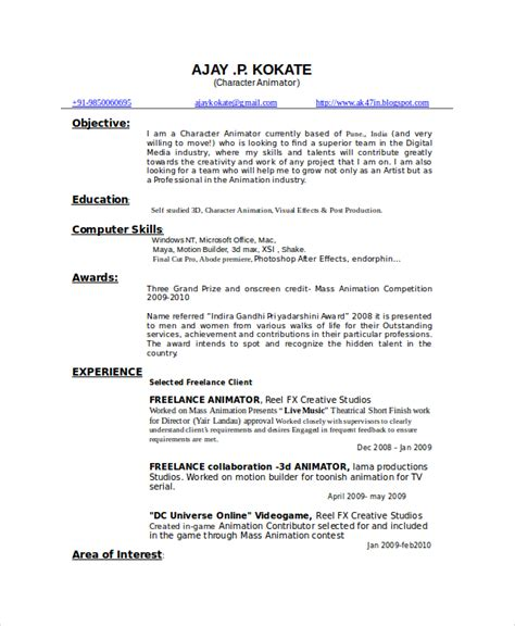 Personality Words For Resume by Animator Resume Template 7 Free Word Pdf Documents Free Premium Templates