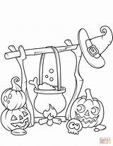 Coloring Jack Cauldron Pages Boiling Lanterns Printable Halloween Cute Drawing sketch template