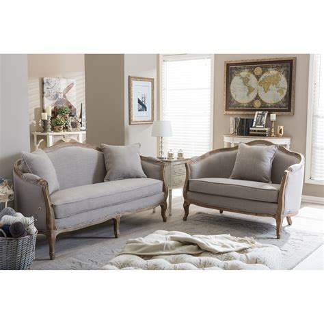 Country Sofas And Loveseats by Baxton Studio Benito Sofa And Loveseat Set Wayfair