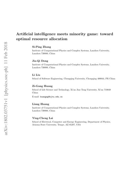 (PDF) Artificial intelligence meets minority game: toward