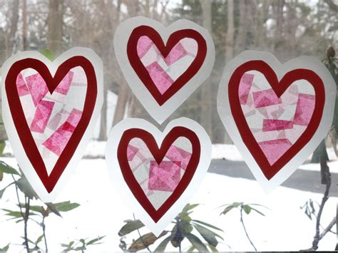 diy stained glass window clings  valentines day diy
