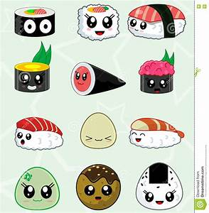 Japanese Sushi Food Vector Icons Set Stock Vector ...