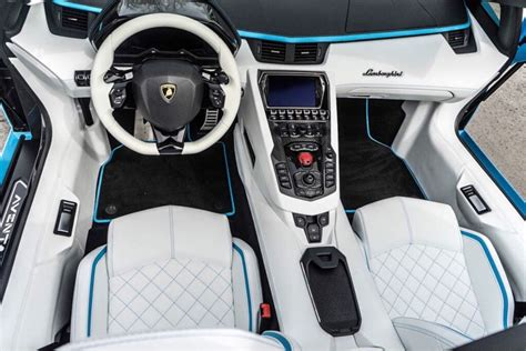 lamborghini aventador s roadster interior interior of the lamborghini aventador s roadster painted in blu cepheus photo taken by
