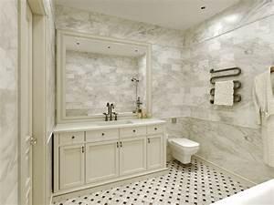 Carrara Marble Tile White Bathroom Design Ideas - Modern