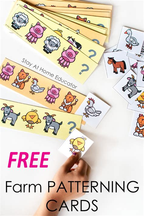 farm math activities with free printable pattern cards 508 | farm theme pattern cards for preschoolers 2