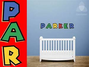 super mario custom name vinyl wall decal in nintendo With inspiring nintendo wall decals for kids room