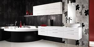 stunning salle de bain rouge noir et blanc pictures With salle de bain noir blanc