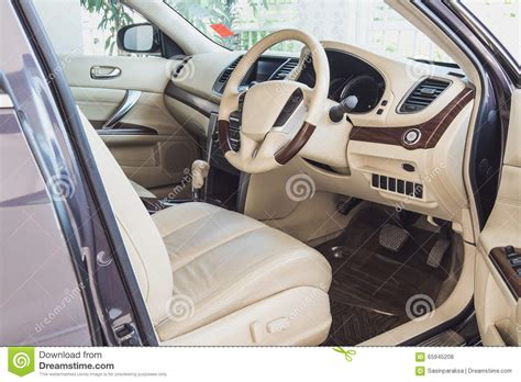 Old Luxury Modern Car Interior, Beige Color Stock Photo