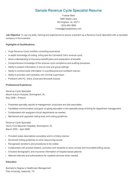 resume sles sle revenue cycle specialist resume