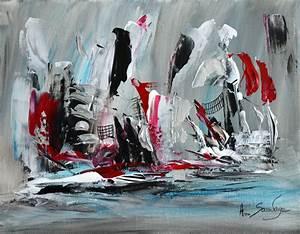 Peinture Blanc Gris : tableau abstrait moderne gris noir blanc rouge bleu argent ~ Nature-et-papiers.com Idées de Décoration