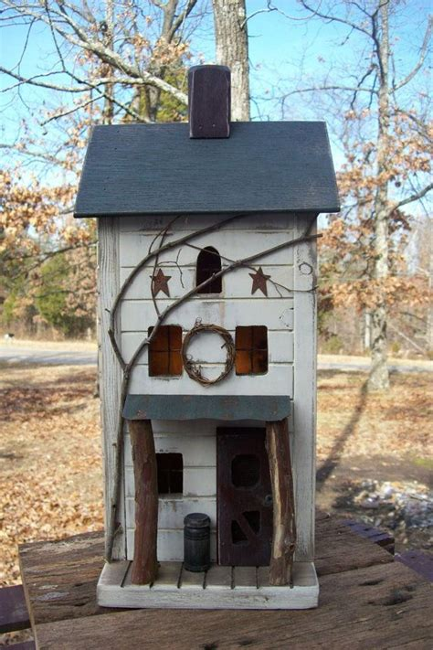 Farmhouse Primitive Birdhouse Rustic Lighted