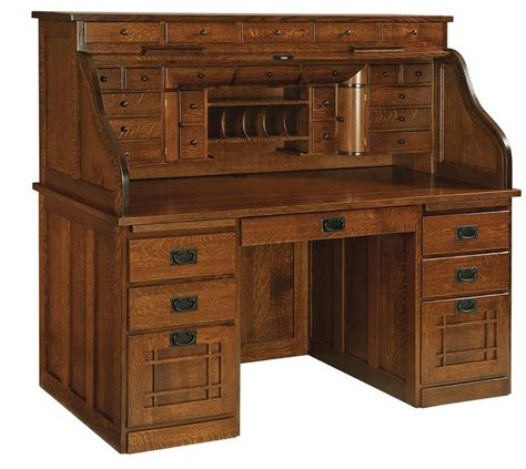 amish mission deluxe roll top desk woodworking desk
