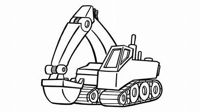 Excavator Coloring Pages Truck Drawing Draw Digger