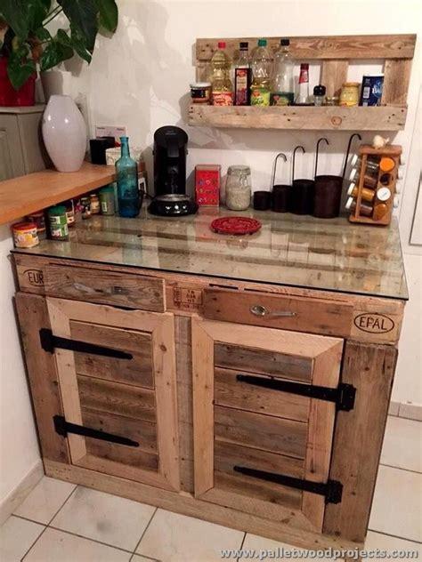pallet kitchen cabinet  glass top quincho muebles