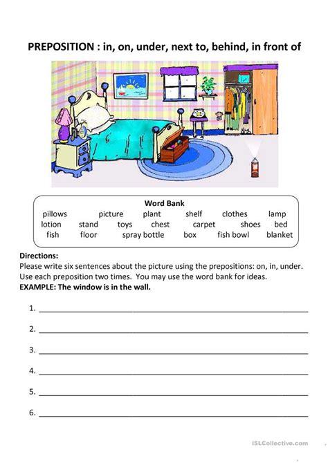 prepositions worksheet  esl printable worksheets