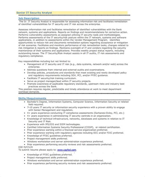 Information Security Resume by Sle Information Security Analyst Resume 7 Documents