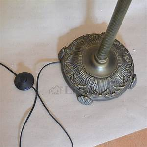 Blur and green glass shade antique brass finish tiffany for Babyliss floor lamp antique brass