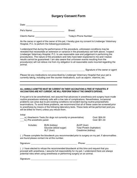 surgery consent forms templates consent form pinterest
