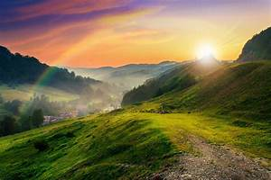 Mountains, Trees, Meadow, Sun, Rays, Nature, Mountains, Trees, Lawn, Sun, Nature, Wallpaper