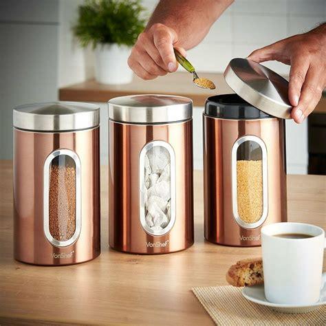 addis set   copper tea coffee sugar canisters jar  window stainless steel