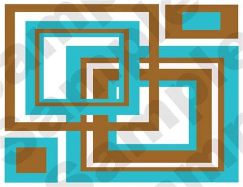 abstract squares wallpaper border wall decals modern room decor in four different color