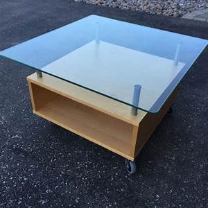 Find more ikea coffee table on wheels glass top for sale for Glass top coffee table with wheels
