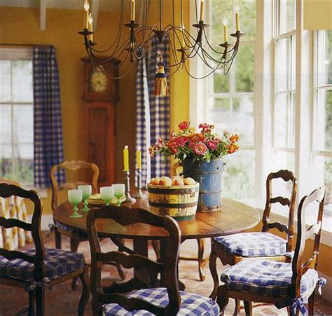 french country dining room  mustard gold yellow walls  blue checked curtains dining rooms       house