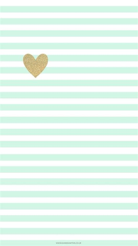 Mint Green Stripes And Gold Heart  Cute Phone Wallpaper