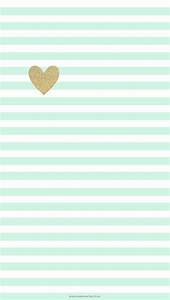 Mint green stripes and gold heart | Cute Phone Wallpaper ...