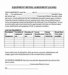 rental agreement templates 15 free word pdf documents With equipment lease document template