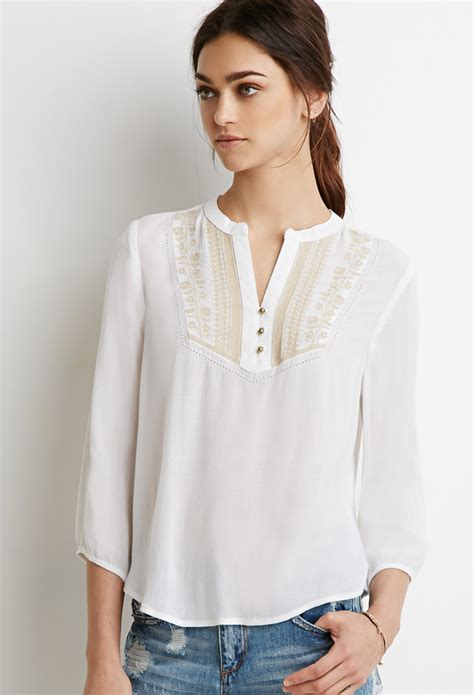 peasant blouses forever 21 embroidered peasant blouse in white lyst