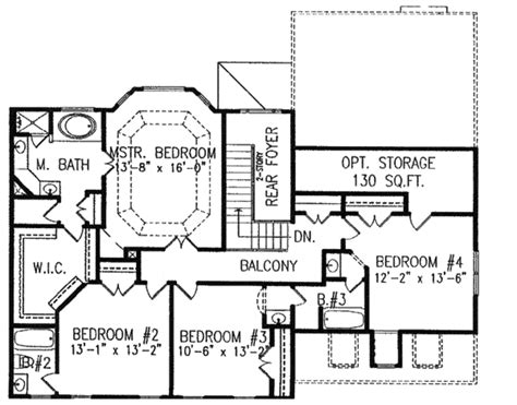 Colonial Style House Plan  4 Beds 350 Baths 2960 Sqft