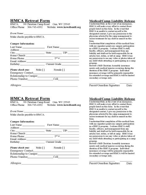 retreat registration form   templates   word