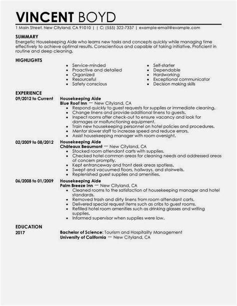 Housekeeper Resume by Housekeeping Resume Sle Resume Exles