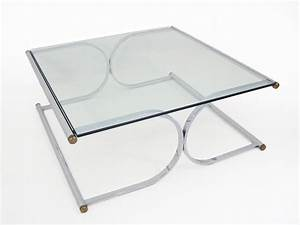 mid century curved x base chrome and glass square coffee With square glass and chrome coffee table