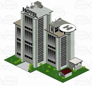 Cartoon Clipart: Large Hotel Building With Helicopter Pad