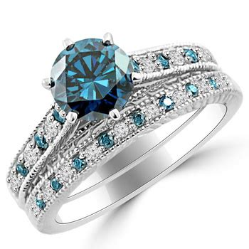 ct  blue diamond matching engagement ring set