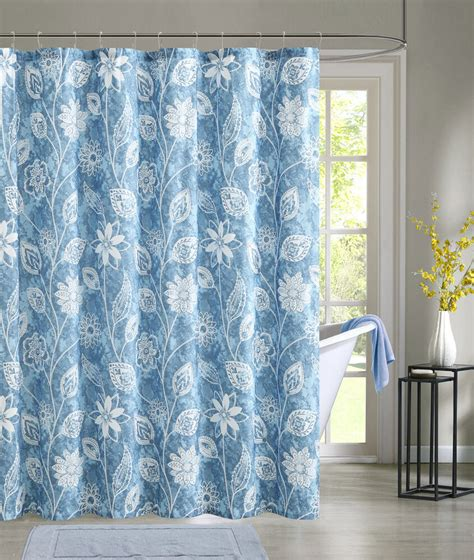 shower cloth blue embossed fabric shower curtain white floral design