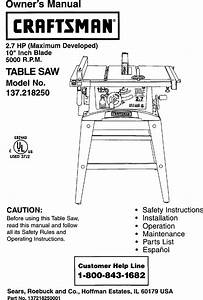 Craftsman 137218250 User Manual Table Saw Manuals And