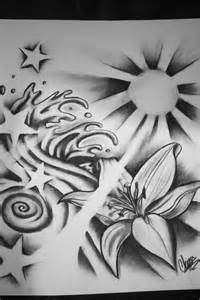 Stars and Waves Tattoo Drawing Designs