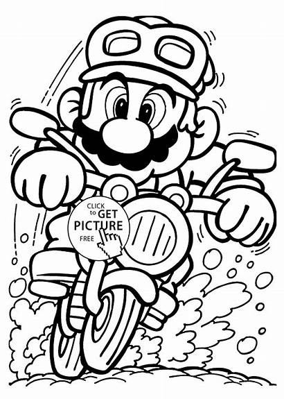 Coloring Mario Motorcycle Pages Printable Cartoons
