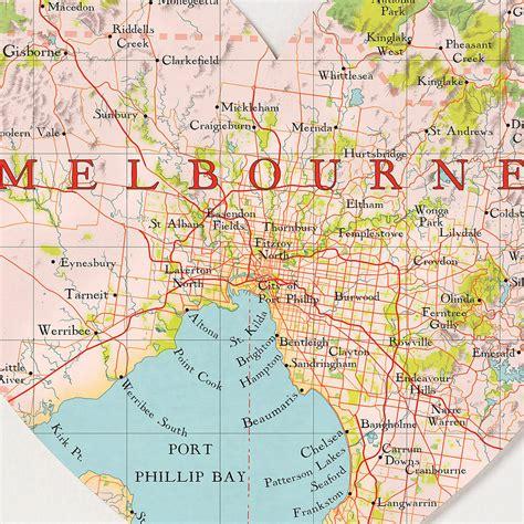 melbourne map heart print  bombus   peg