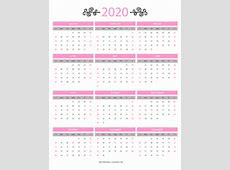 12 Month Colorful Calendar for 2020 Free Printable Calendars