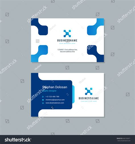 business card design trendy blue colors stock vector