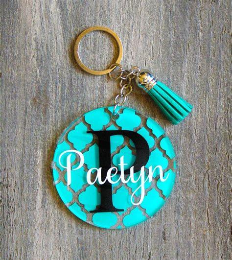 personalized monogram keychain  tassel custom acrylic key chain glitter monogram
