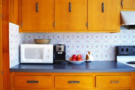 Temporary Backsplash Using Renters Wallpaper   Kitchens