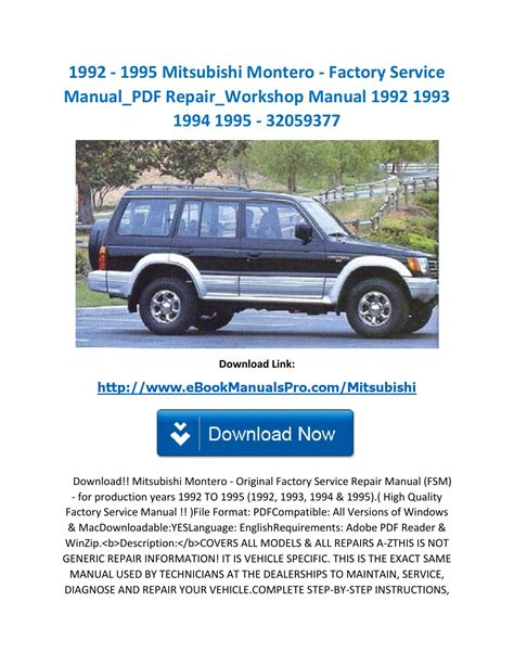 how to download repair manuals 1995 mitsubishi montero security system 1992 1995 mitsubishi montero factory service manual pdf repair workshop manual 1992 1993 1994