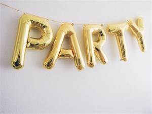 Party letter balloons gold foil mylar letter by ohshinypaperco for Gold foil letter balloons